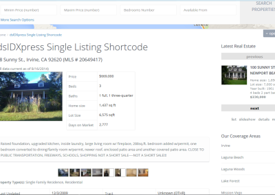 Real Estate Example-IDX Single Listing